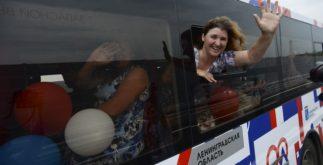 Новые автобусы с людьми