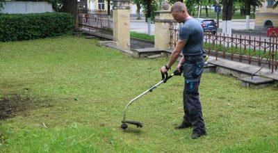 Косят траву в сквере Терентьева
