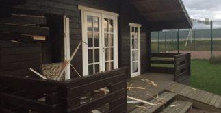 Дом  повреждённый при взрыве