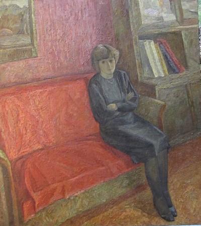 В красной комнате (Надежда Златкина), худ. Александр Златкин