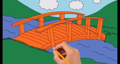 Мост через реку, рисунок